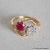 Bague Vintage Or 18k Emeraude & Diamant  3.1grs  50