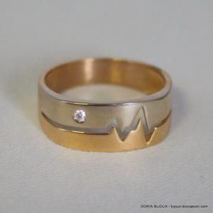 Bague or 18k- 750 diamants 0.09 carats - 5.3grs- 62
