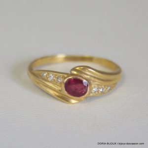 Bague Or Jaune 750/000 Rubis Et Diamants 3.20 Grs