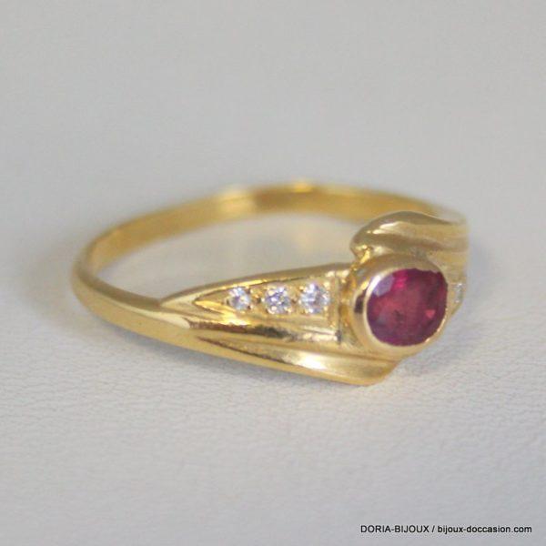Bague Or Jaune 750/000 Rubis Et Diamants 3.20 Grs