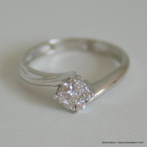 Bague Or Gris 750/000 7 Diamants 2.4grs