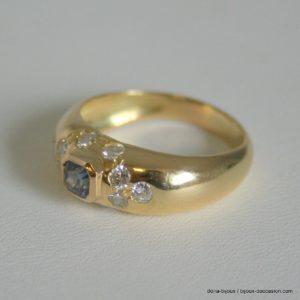 Bague Or Jaune 750/000 Saphir Diamants 7.40 Grs