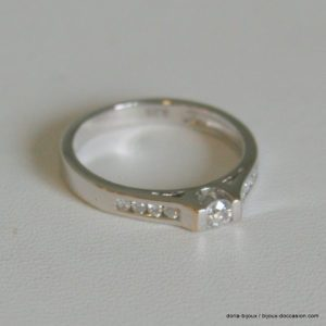 Bague Diamants 0.23 Cts Or Gris 18k 750/000 2.7grs