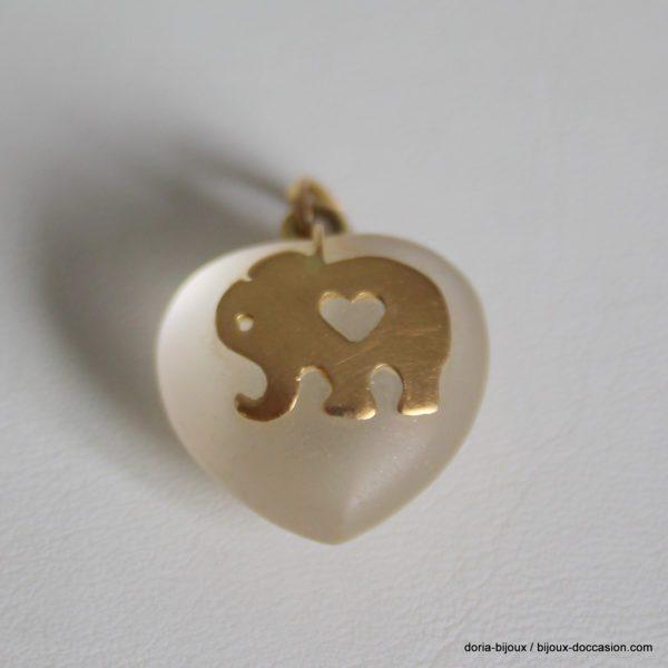 Pendentif Coeur Elephant Or 18k, 750/000 7grs