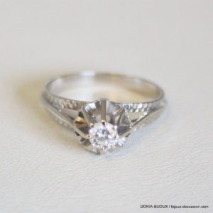 Bague Or Gris 18k Solitaire Diamant 0.20cts 2.4grs
