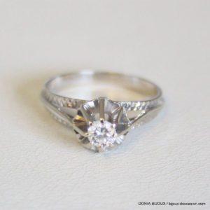 Bague Or Gris 18k Solitaire Diamant 0.20cts 2.4grs