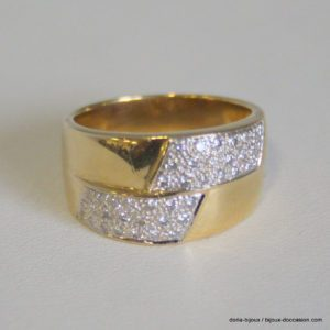 Bague Or Jaune 18k 42 Diamants 0.84carats 9.7grs