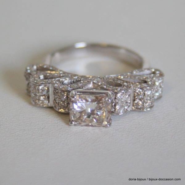 Bague Or Gris 750/000 - 153 Diamants 3.41 Carats - 10grs - Bijoux d' Occasion