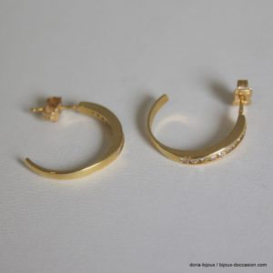 Boucles D'oreilles Or 18k Diamants 0.36 Ct 3.5grs