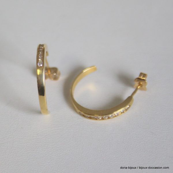 Boucles D'oreilles Or 18k Diamants 0.36 Ct 3.5grs