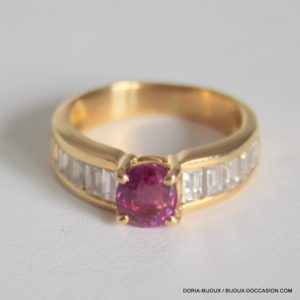 Bague Or 18k 750/000 Rubis Diamants 4.8grs 50 - Bijoux d' Occasion -