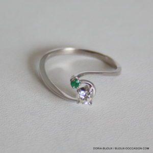 Bague Or Gris 18k 750 Emeraude Et Diamant 2.4Grs