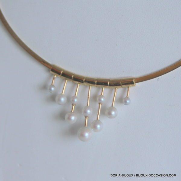 Collier Or 18k 750/000 Omega Et Perles 19.3grs