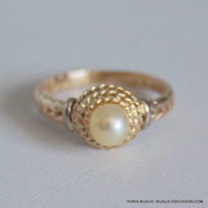 Bague Perle Vintage Or 18k 750/000 3.1grs- 52-