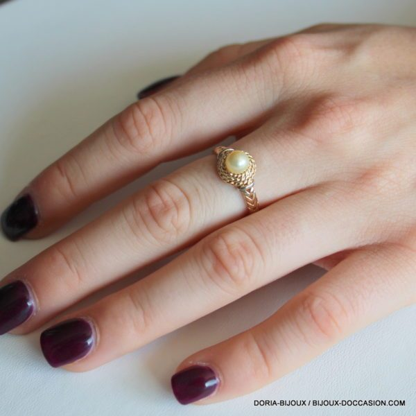 Bague Perle Vintage Or 18k 750/000 3.1grs- 52-