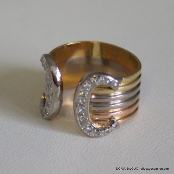 "Bague Cartier ""double C"" 750 Diamants 5.8grs -50-"