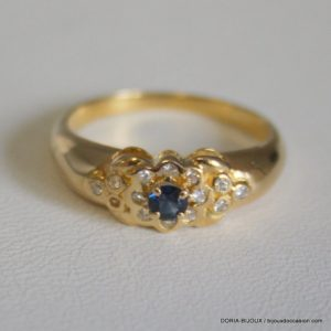 Bague Or 18k 750/000 Saphirs/Oxydes 3.1grs -56-