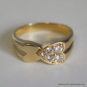 Bague Coeur Diamants Or 18k, 750/000 6.7grs -60-