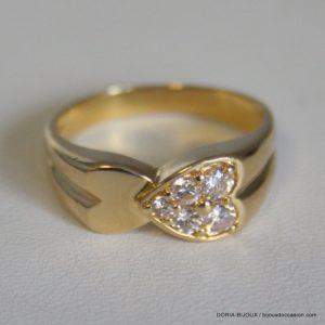 Bague Coeur Diamants Or 18k, 750/000 6.7grs -60-