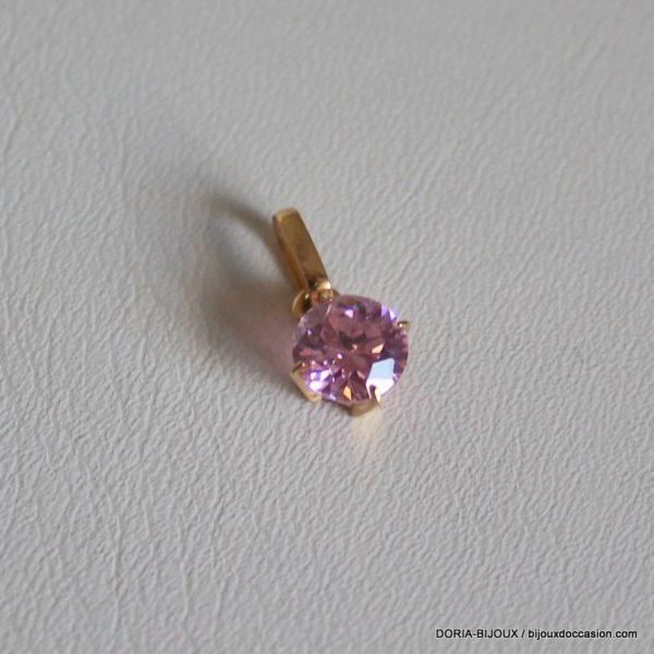 Pendentif 18k, 750/000 Oxydes Zirconium Rose 0.6grs
