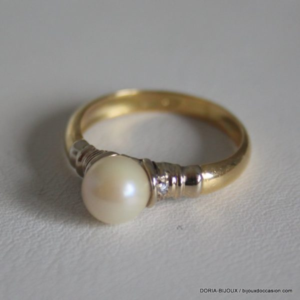 Bague Perle Or 18k 750/000 3.2grs- 56-