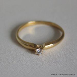 Bague Solitaire Or 18k 750/000 Diamant 1.90grs -55-