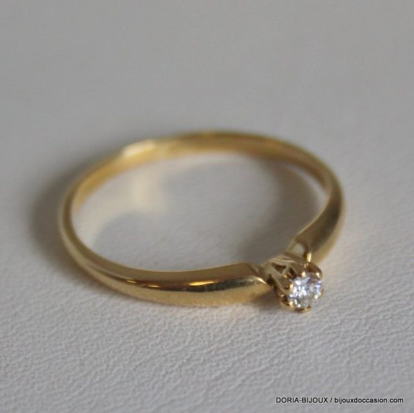 Bague Solitaire Or 18k 750/000 Diamant 1.90grs -55-