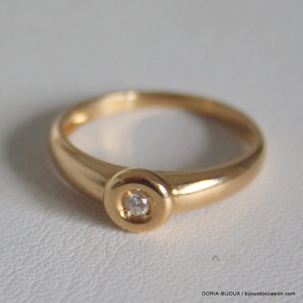 Bague Solitaire Or 18k 750/000 Diamant 2.2grs -51-