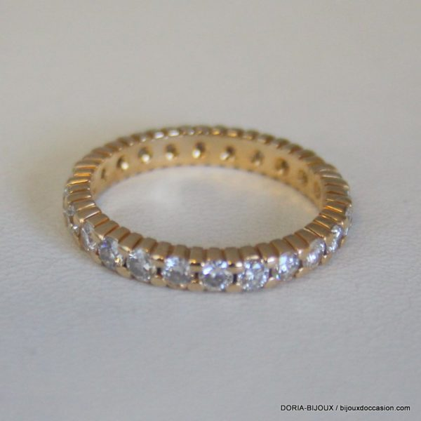 Bague Or 18k, 750 Tour Complet Diamants 3.3grs -55