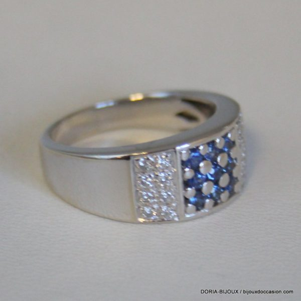 Bague Or 18k 750/000 Saphirs Diamants 7.6grs -54-