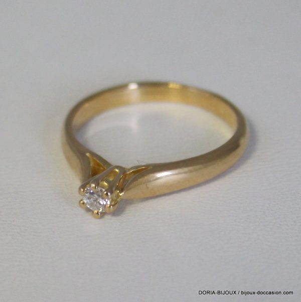 Bague Or Gris 18k 750 Diamant 0.10ct 3.2grs -53-