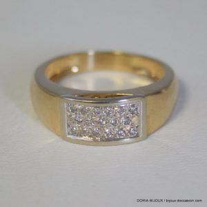 Bague Or 18k, 750 Pavage Diamants 6.4grs -58