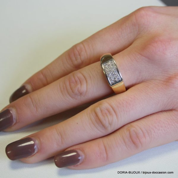 Bague Or 18k, 750 Pavage Diamants 6.4grs -58