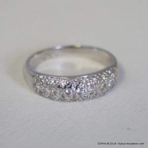 Bague Or Gris 18k, 750 - 37 Diamants 3.9grs -53-