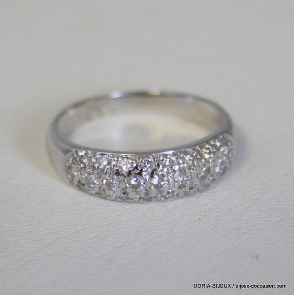 Bague Or Gris 18k, 750 - 37 Diamants 3.9grs -53-