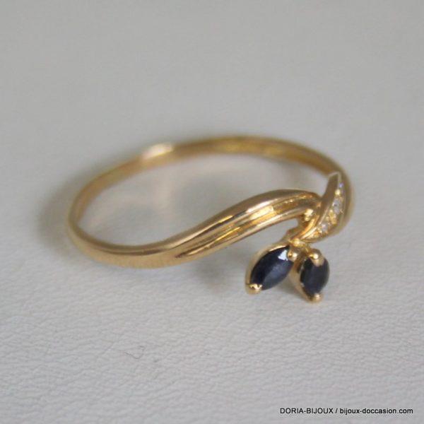 Bague Or 18k 750 Saphir -diamant 1.7grs -60-