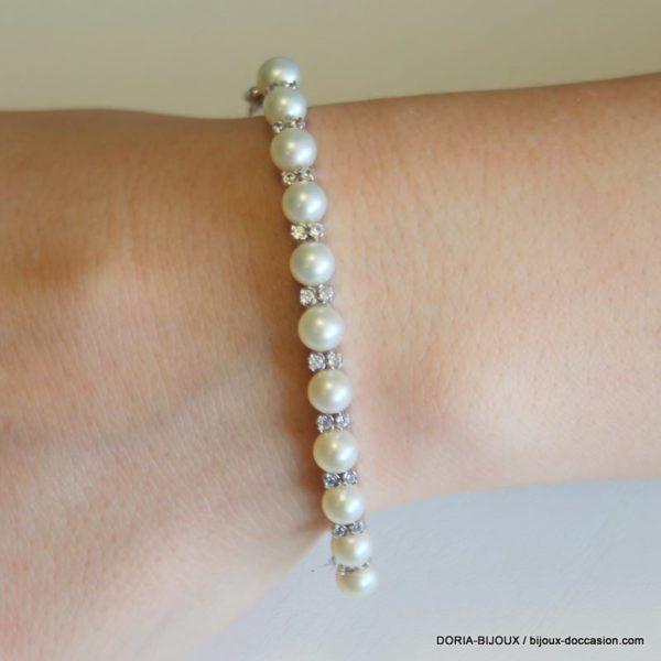 Bracelet Or Blanc 9k 375 Jonc Ouvrant Perles-13.6grs