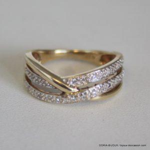 Bague Or Bicolor 18k 750/000 24 Diamants 2.8grs- 52