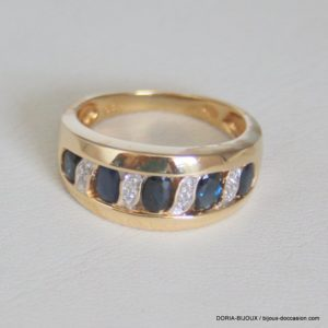 Bague Or Jaune 18k 750 Saphirs Diamants 6.2grs - 58-