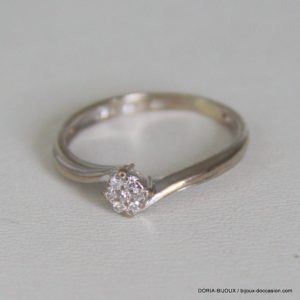 Bague Or Gris 18k 750/000 Diamants - 2.1 Grs- 54