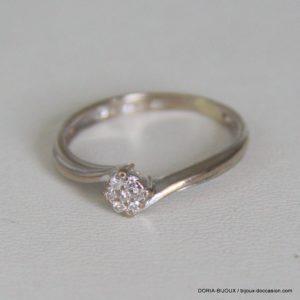 Bague Or Gris 18k 750/000 Diamants - 2.1 Grs- 54