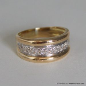 Bague Or Jaune 18k 750 Diamants - 5.8 Grs- 57
