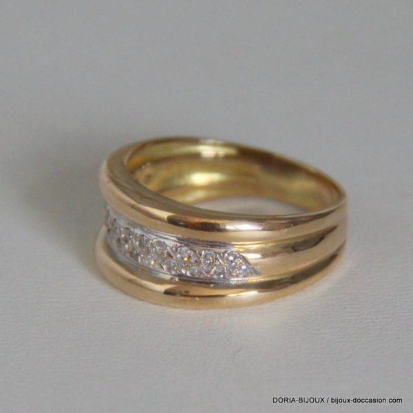 Bague Or Jaune 18k 750 Diamants - 5.8 Grs- 57