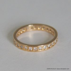 Bague Or Jaune 18k 750/000 Diamants - 5.5 Grs- 51