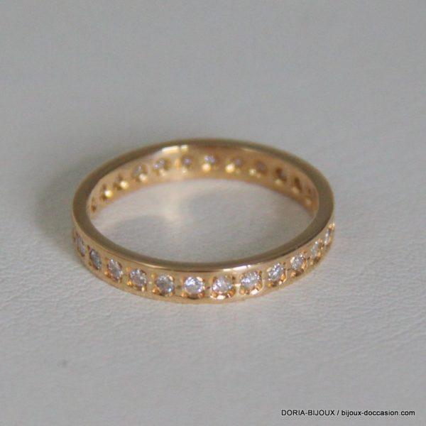 Bague Or Jaune 18k 750/000 Diamants - 5.5 Grs- 51