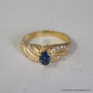 Bague Or Jaune 18k 750 Saphir Diamants 3.5grs – 60