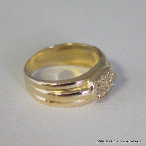 Bague Or Jaune 18k 750 - Diamants - 4.3 Grs - 51