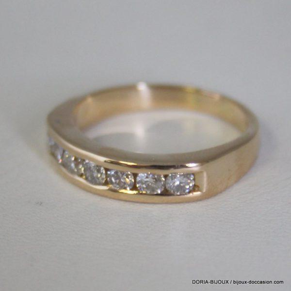 Bague Or Jaune 18k 750 - 7 Diamants – 8.4grs – 63