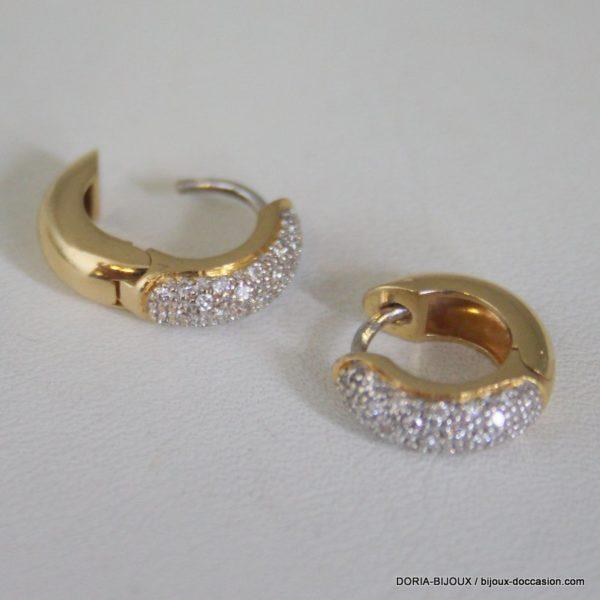 Boucles D'oreilles Or Gris 18k 750 Diamants - 7.7grs