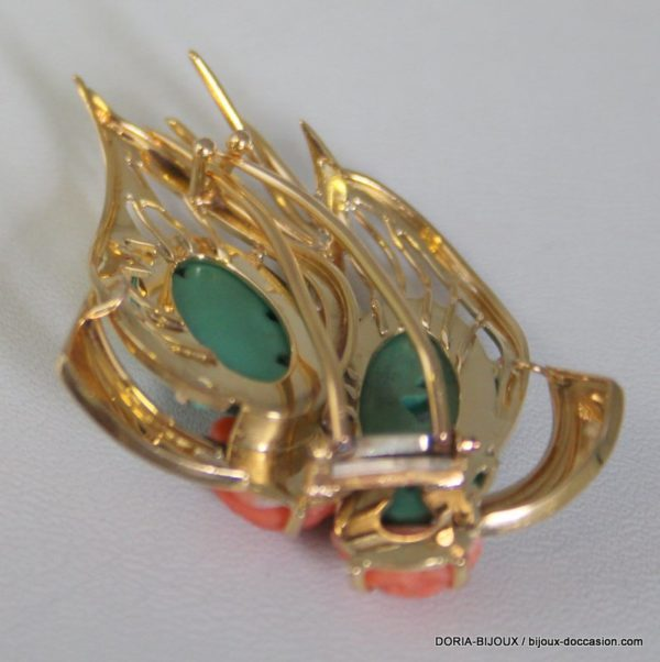 Broche Or 18k, 750/000 Jade 14.8 Grs